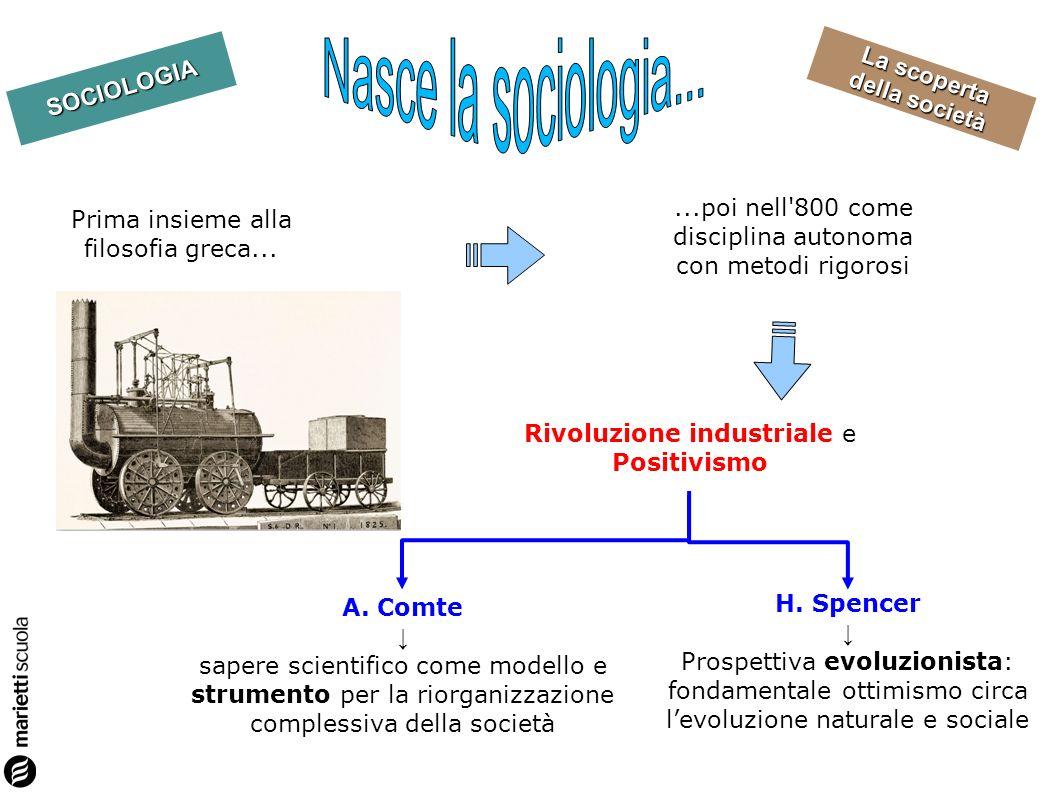 Nasce la sociologia... ...poi nell 800 come disciplina autonoma con metodi rigorosi. Prima insieme alla filosofia greca...