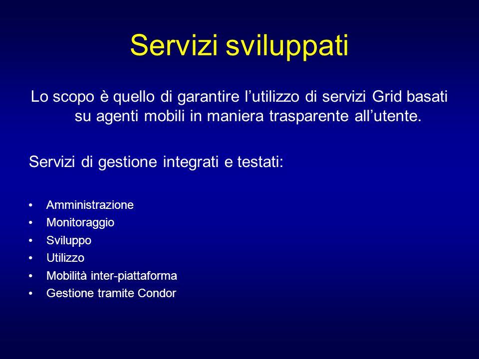 Servizi sviluppati Lo scopo è quello di garantire l'utilizzo di servizi Grid basati su agenti mobili in maniera trasparente all'utente.