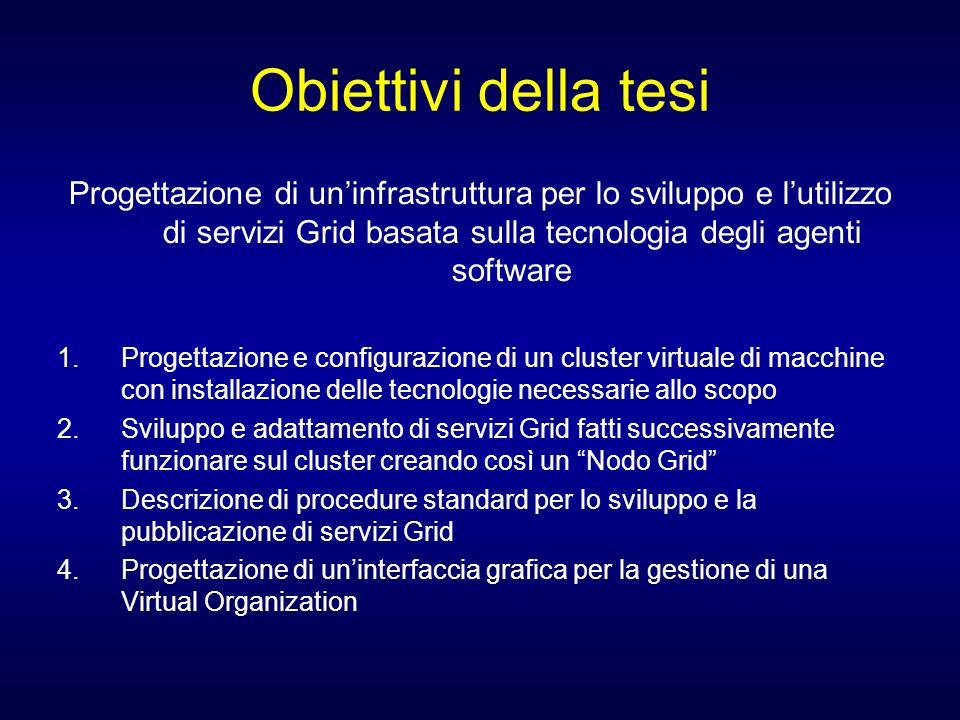 Obiettivi della tesi Progettazione di un'infrastruttura per lo sviluppo e l'utilizzo di servizi Grid basata sulla tecnologia degli agenti software.