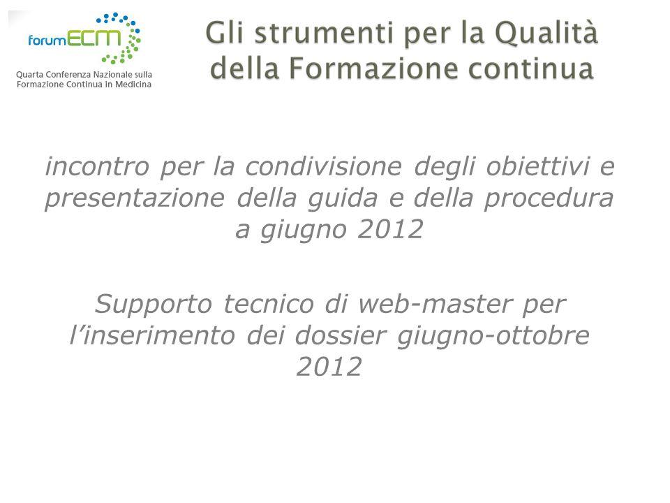 incontro per la condivisione degli obiettivi e presentazione della guida e della procedura a giugno 2012