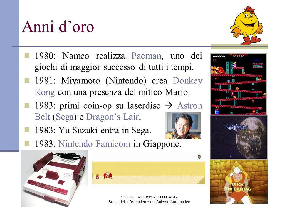 Anni d'oro 1980: Namco realizza Pacman, uno dei giochi di maggior successo di tutti i tempi.