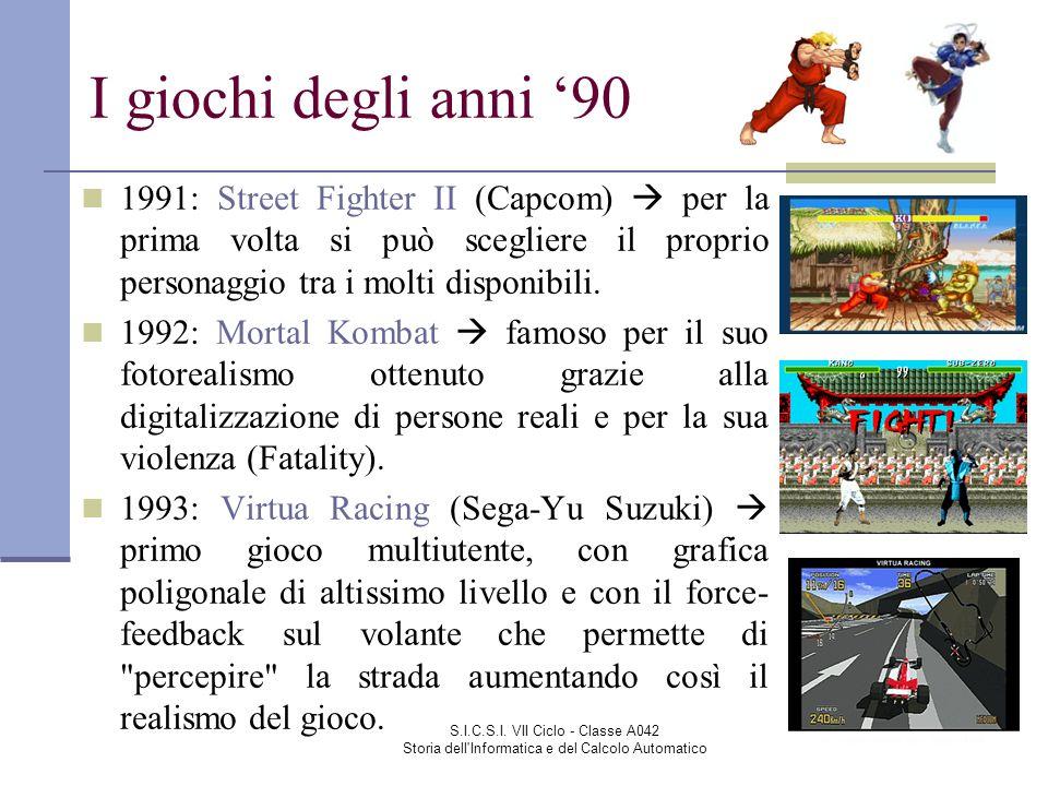 I giochi degli anni '90 1991: Street Fighter II (Capcom)  per la prima volta si può scegliere il proprio personaggio tra i molti disponibili.