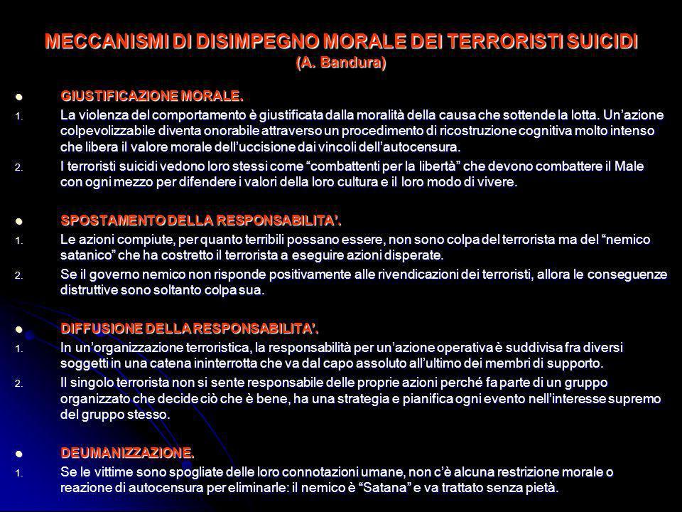 MECCANISMI DI DISIMPEGNO MORALE DEI TERRORISTI SUICIDI (A. Bandura)