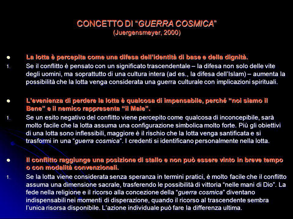 CONCETTO DI GUERRA COSMICA (Juergensmeyer, 2000)