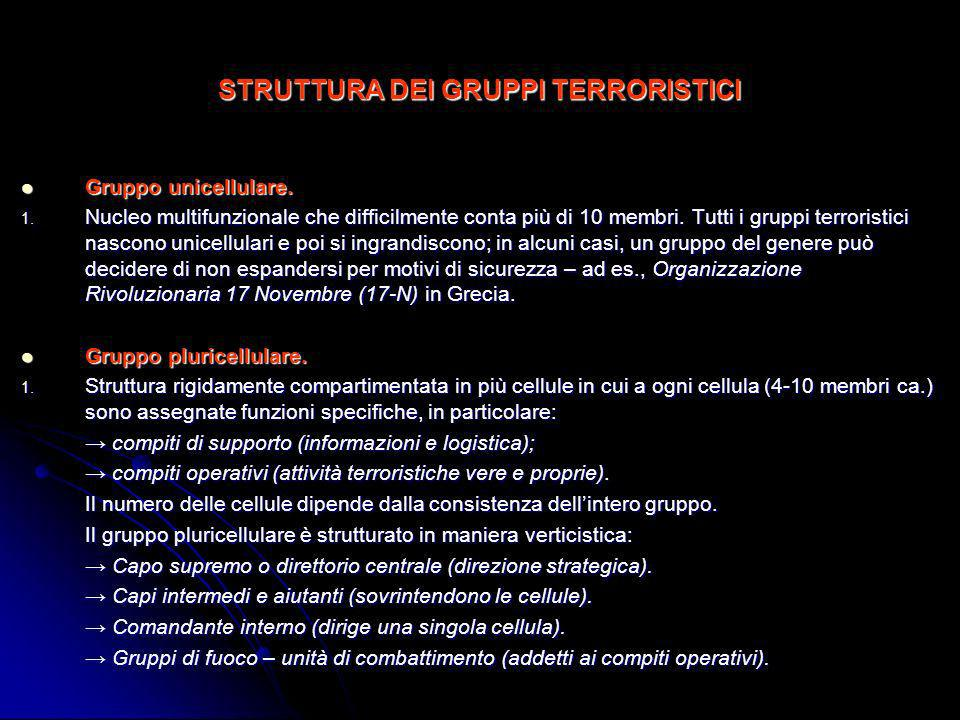 STRUTTURA DEI GRUPPI TERRORISTICI