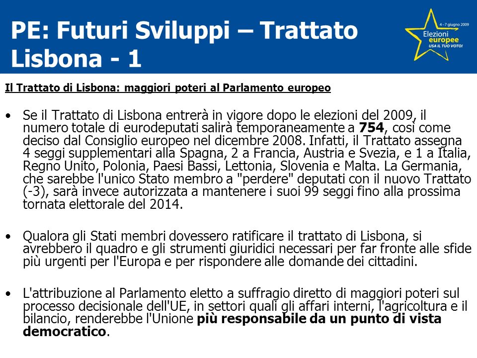 PE: Futuri Sviluppi – Trattato Lisbona - 1