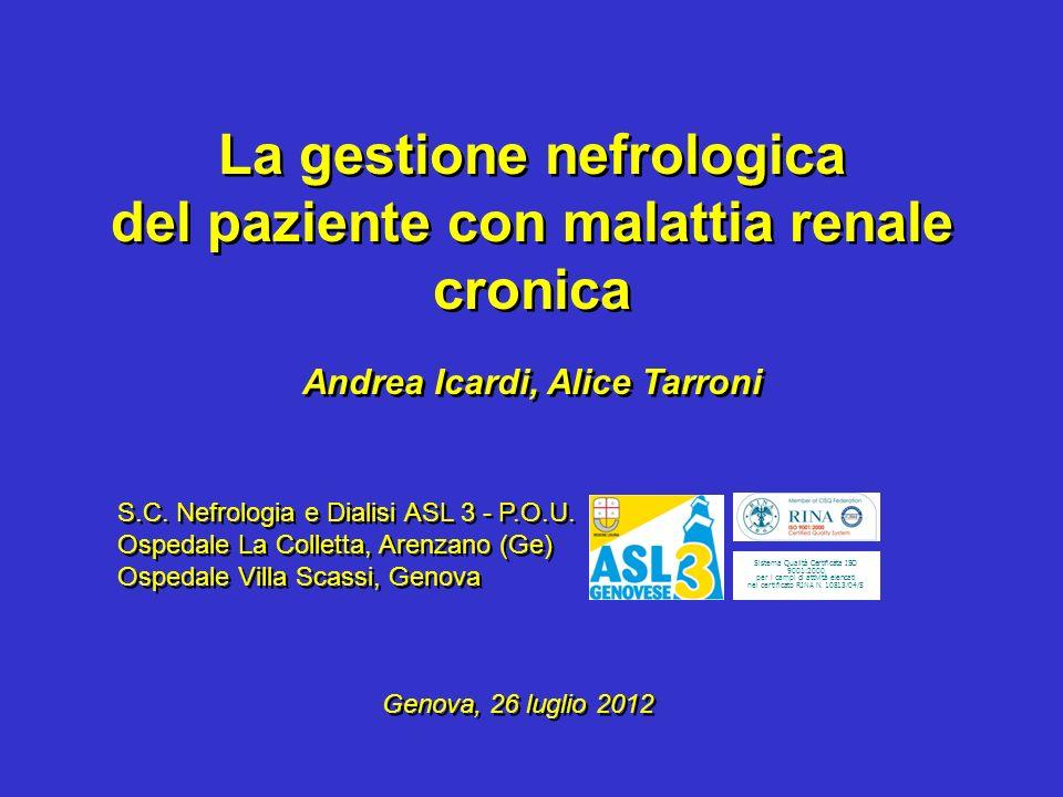 La gestione nefrologica del paziente con malattia renale cronica