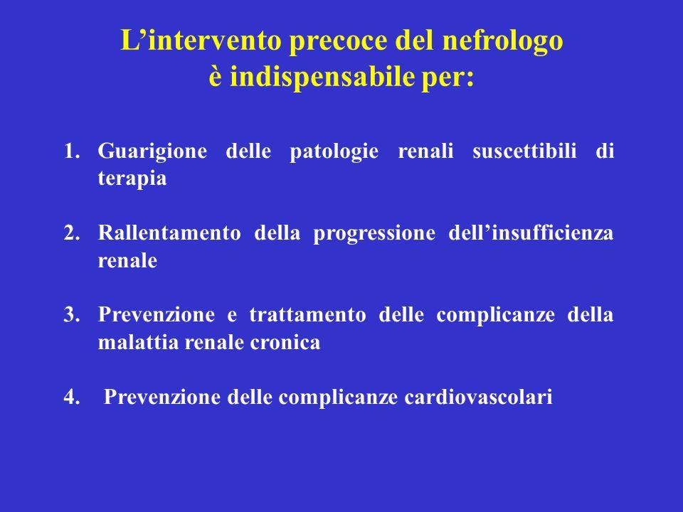 L'intervento precoce del nefrologo è indispensabile per: