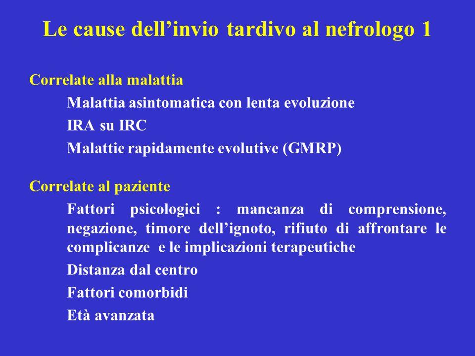 Le cause dell'invio tardivo al nefrologo 1