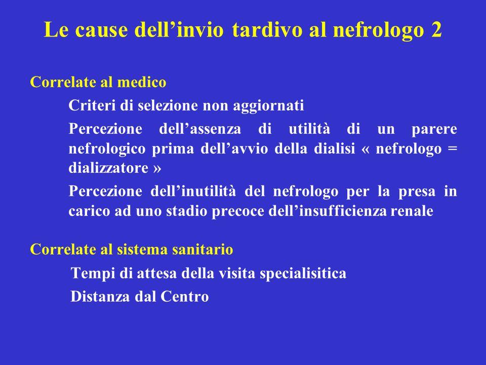 Le cause dell'invio tardivo al nefrologo 2