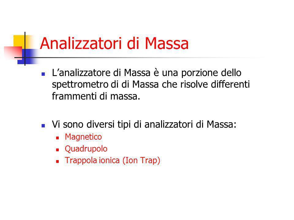 Analizzatori di Massa L'analizzatore di Massa è una porzione dello spettrometro di di Massa che risolve differenti frammenti di massa.