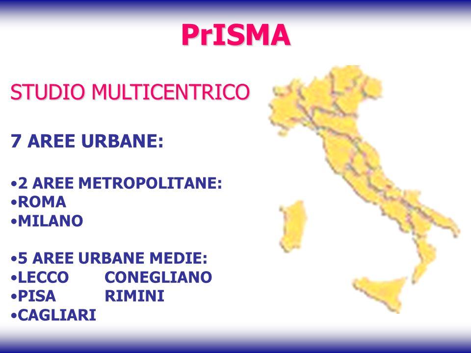 PrISMA STUDIO MULTICENTRICO 7 AREE URBANE: 2 AREE METROPOLITANE: ROMA