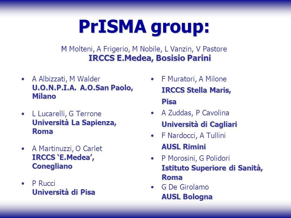 PrISMA group: M Molteni, A Frigerio, M Nobile, L Vanzin, V Pastore IRCCS E.Medea, Bosisio Parini