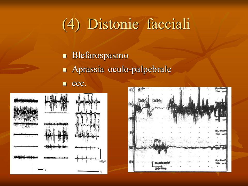 (4) Distonie facciali Blefarospasmo Aprassia oculo-palpebrale ecc.