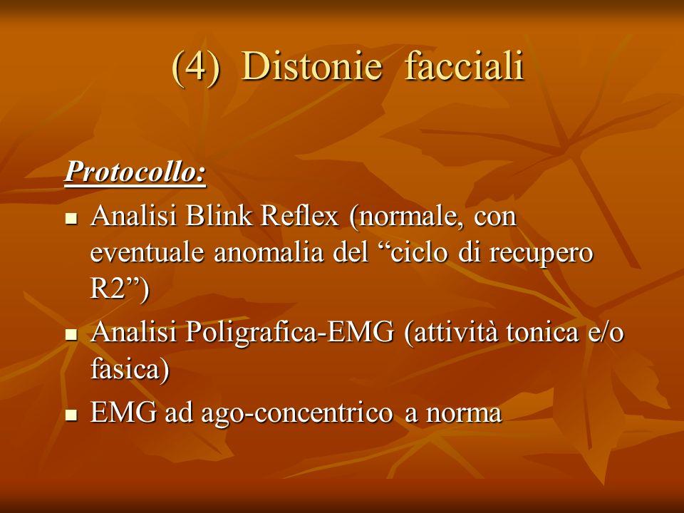(4) Distonie facciali Protocollo: