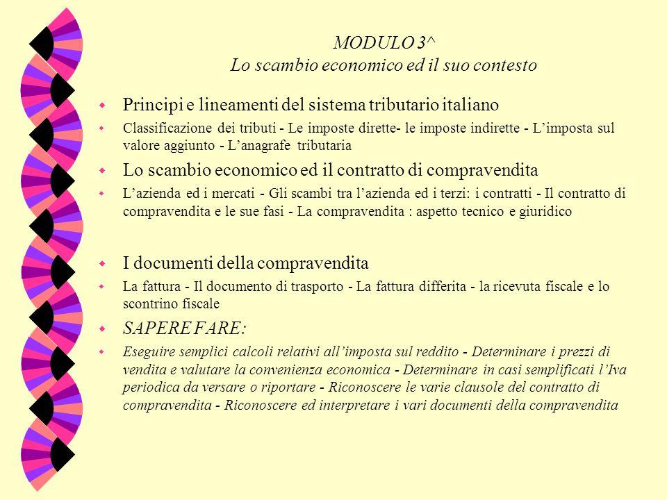 MODULO 3^ Lo scambio economico ed il suo contesto