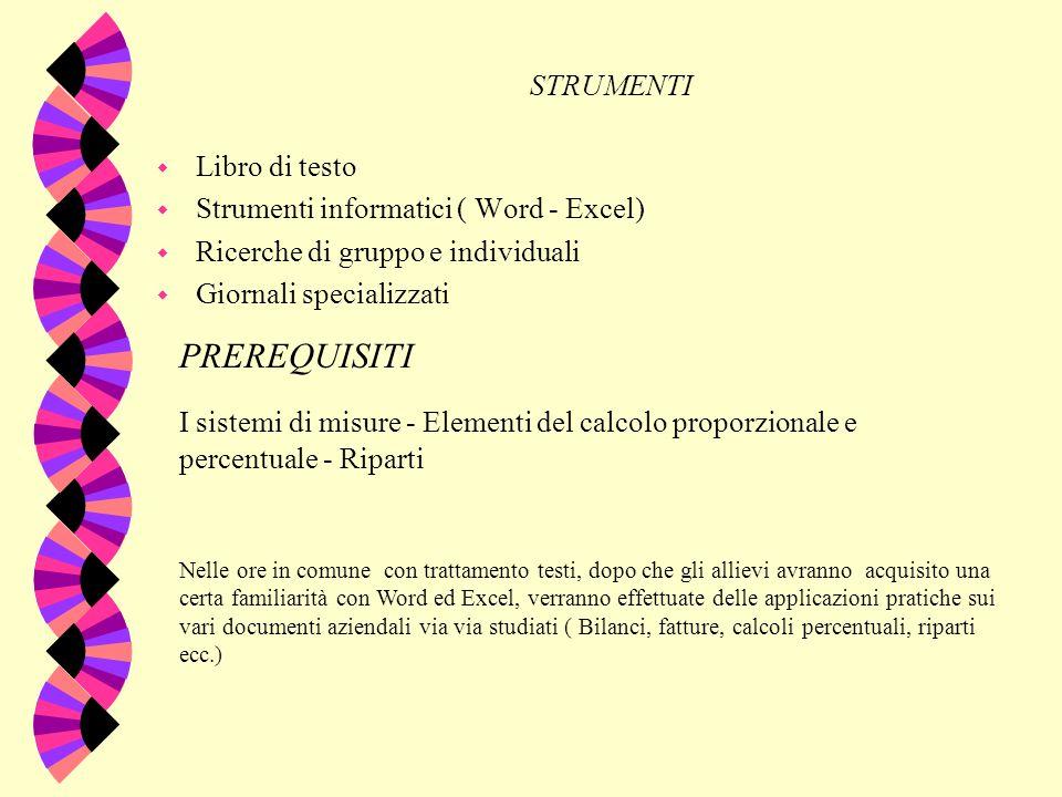 I PREREQUISITI STRUMENTI Libro di testo