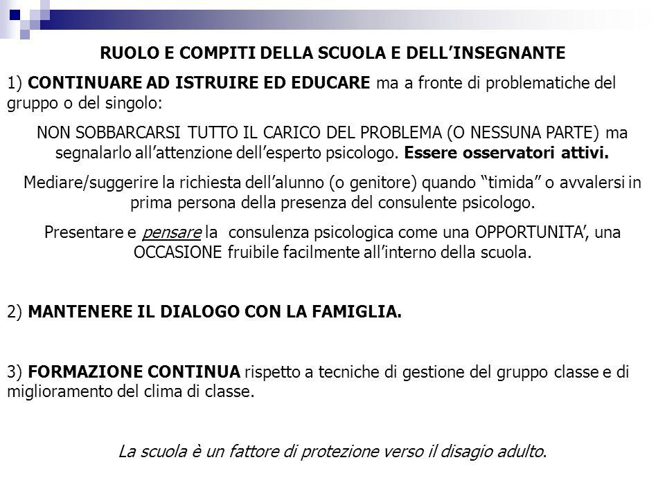 RUOLO E COMPITI DELLA SCUOLA E DELL'INSEGNANTE