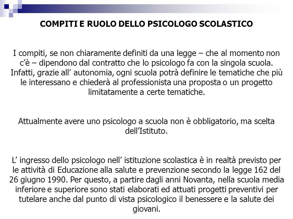 COMPITI E RUOLO DELLO PSICOLOGO SCOLASTICO