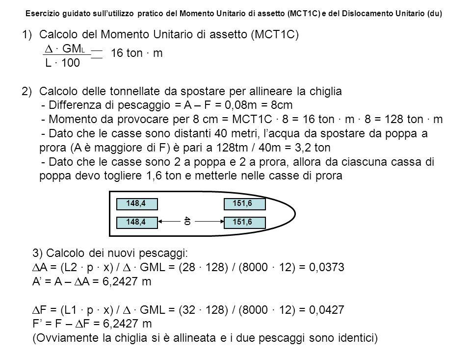Calcolo del Momento Unitario di assetto (MCT1C) D · GML L · 100