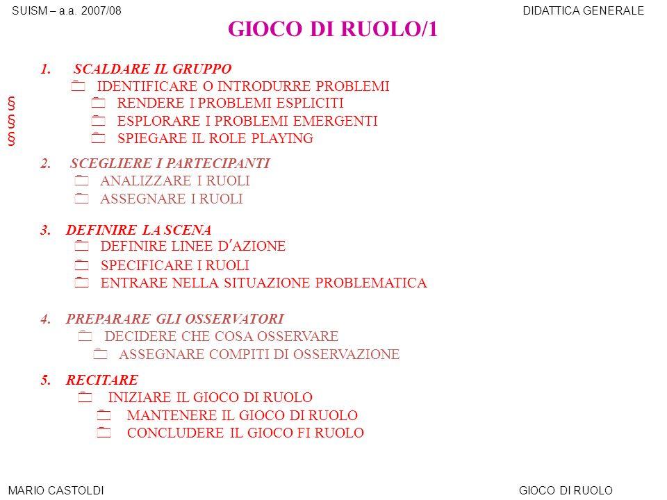 GIOCO DI RUOLO/1 1. SCALDARE IL GRUPPO