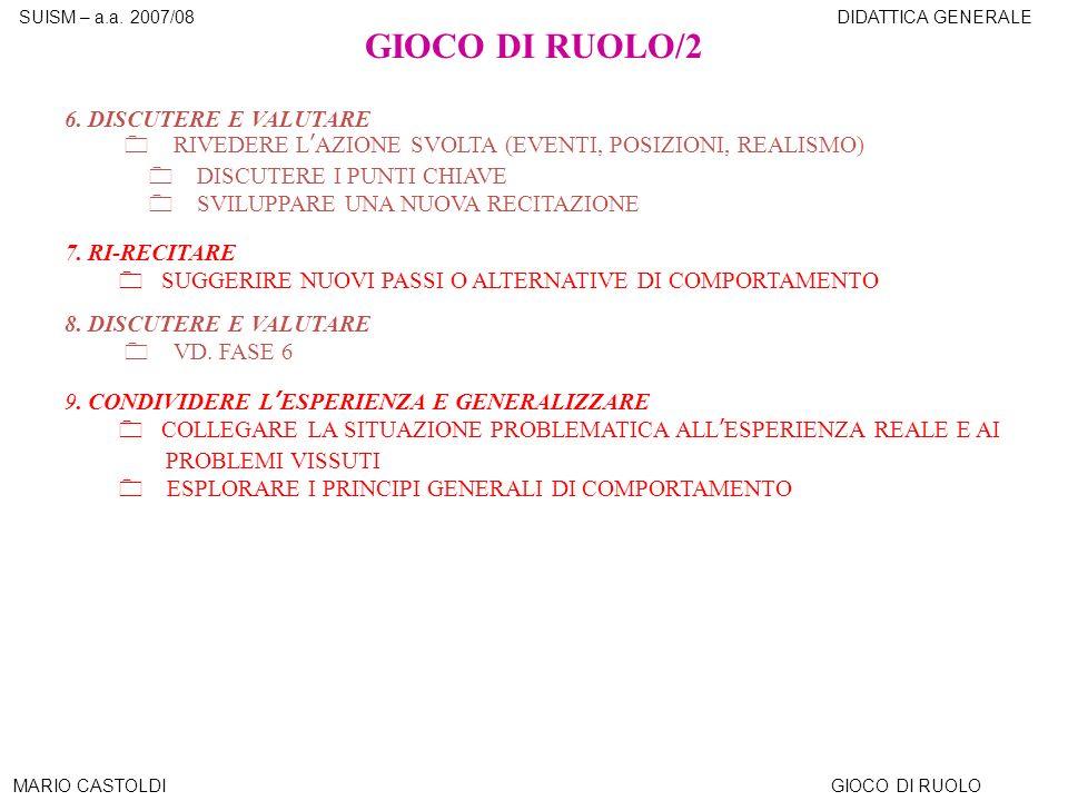 GIOCO DI RUOLO/2 6. DISCUTERE E VALUTARE