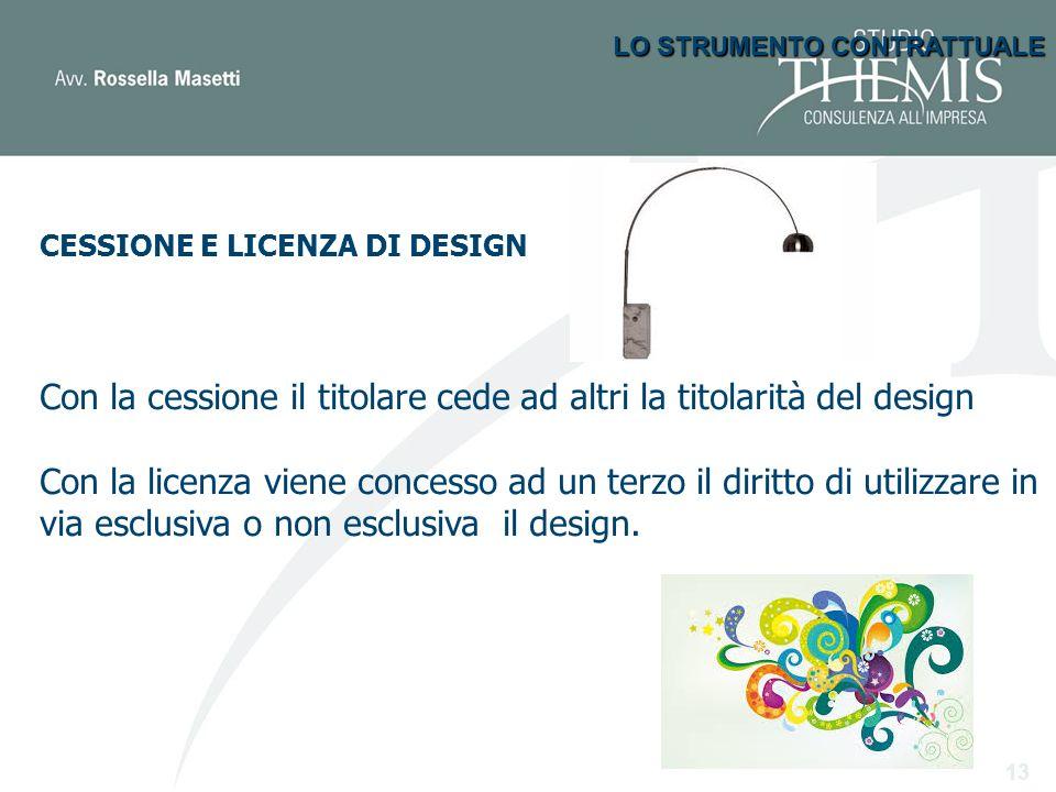 Clausole particolari «Ove il design sia tutelato anche ai sensi dell'art 2 della l. 633/1941 il presente atto si estende anche a tali diritti».