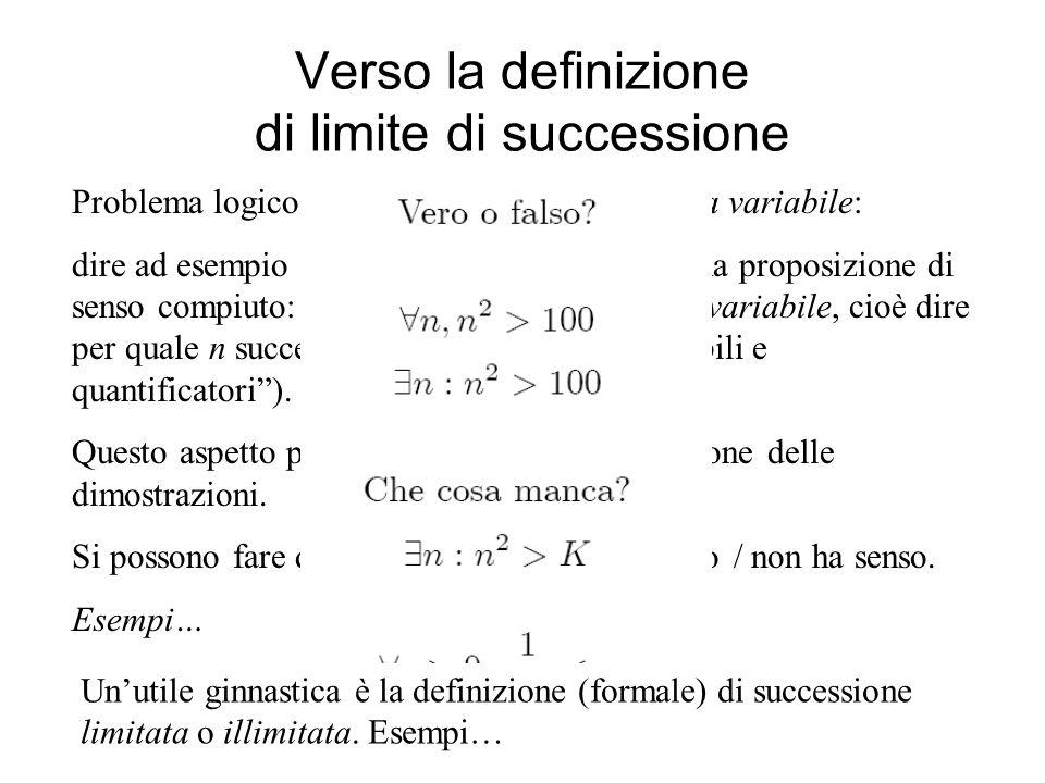 Verso la definizione di limite di successione