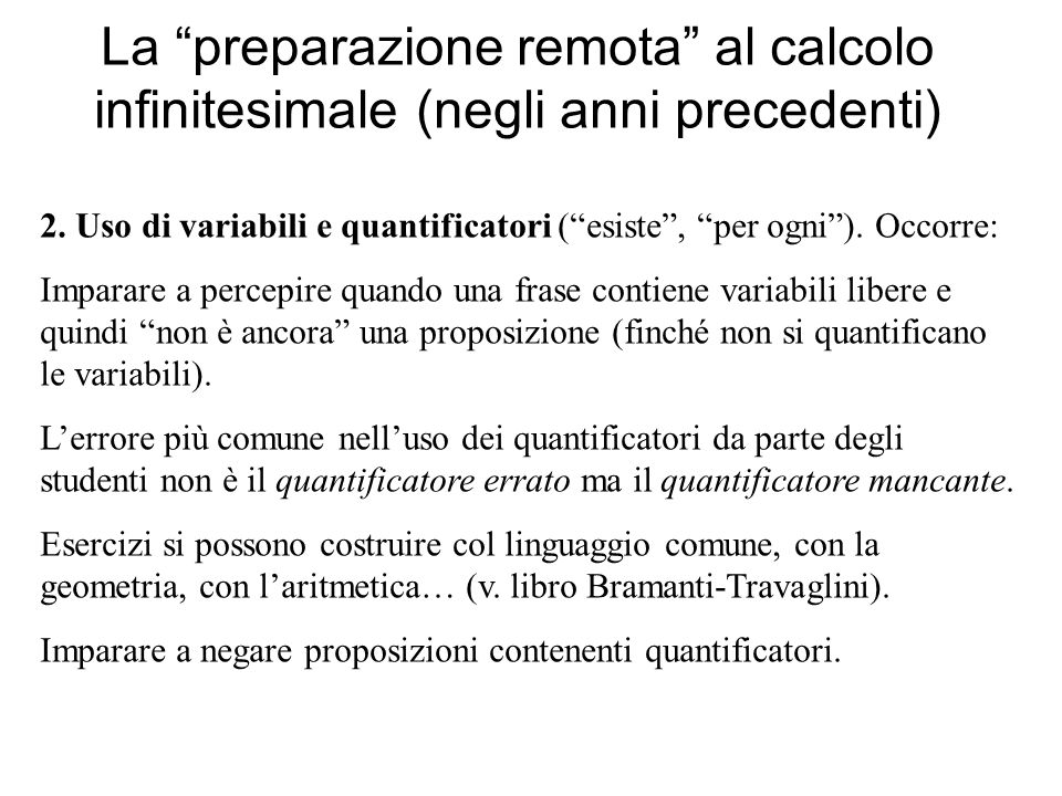 La preparazione remota al calcolo infinitesimale (negli anni precedenti)
