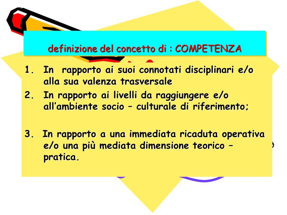definizione del concetto di : COMPETENZA