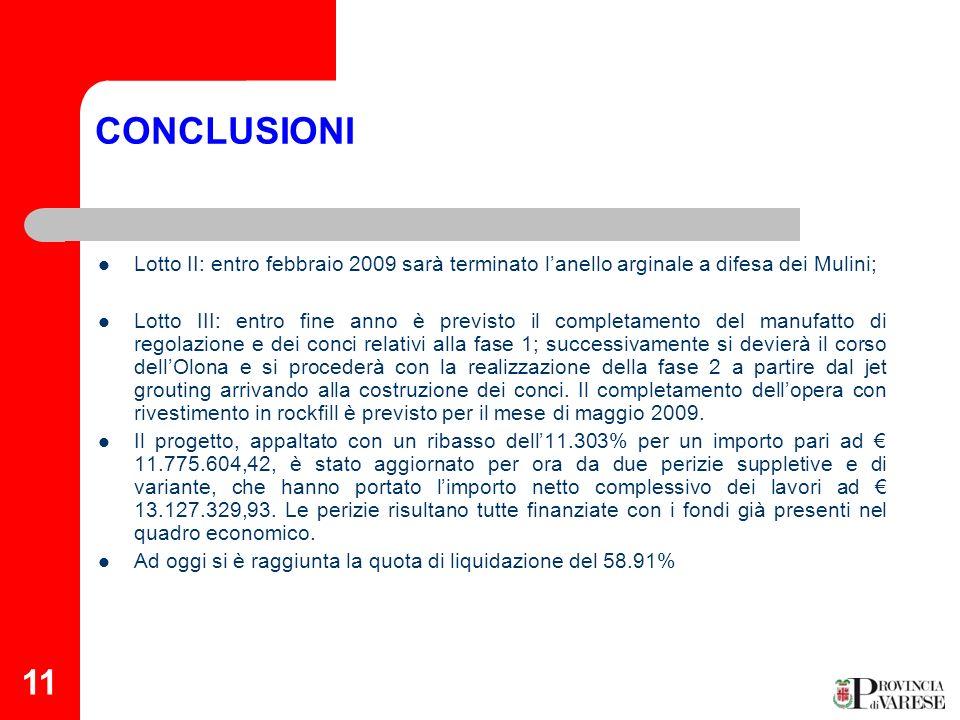 CONCLUSIONI Lotto II: entro febbraio 2009 sarà terminato l'anello arginale a difesa dei Mulini;