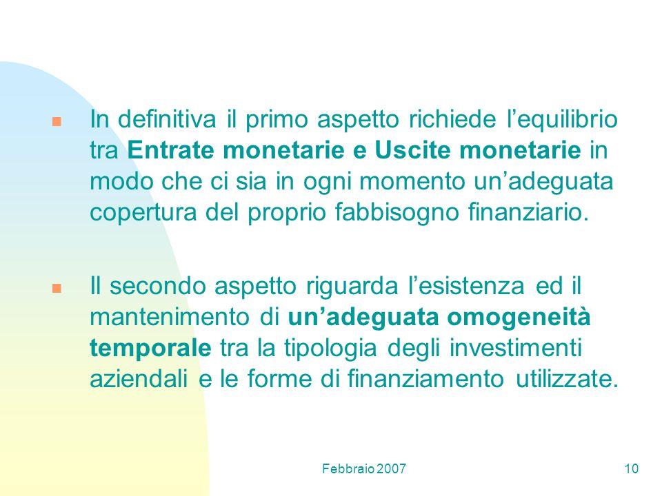 In definitiva il primo aspetto richiede l'equilibrio tra Entrate monetarie e Uscite monetarie in modo che ci sia in ogni momento un'adeguata copertura del proprio fabbisogno finanziario.