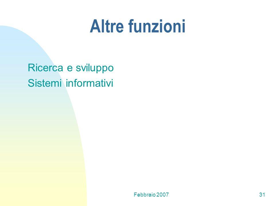 Altre funzioni Ricerca e sviluppo Sistemi informativi Febbraio 2007