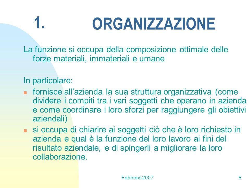 1. ORGANIZZAZIONE. La funzione si occupa della composizione ottimale delle forze materiali, immateriali e umane.