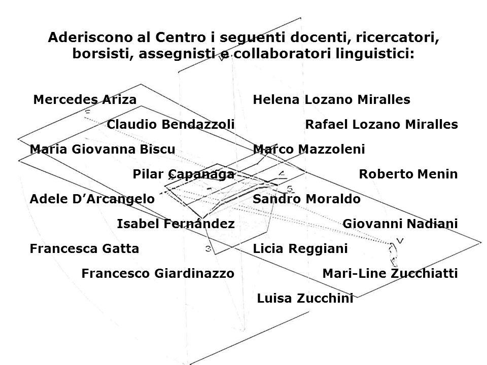 Aderiscono al Centro i seguenti docenti, ricercatori, borsisti, assegnisti e collaboratori linguistici: