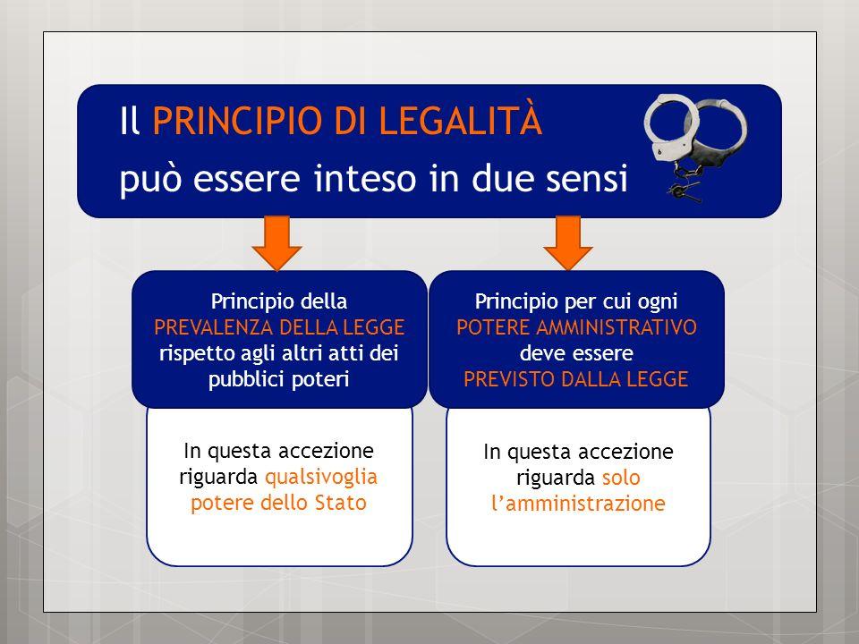 Il PRINCIPIO DI LEGALITÀ può essere inteso in due sensi