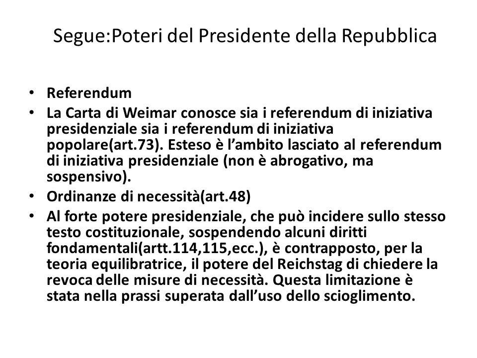 Segue:Poteri del Presidente della Repubblica