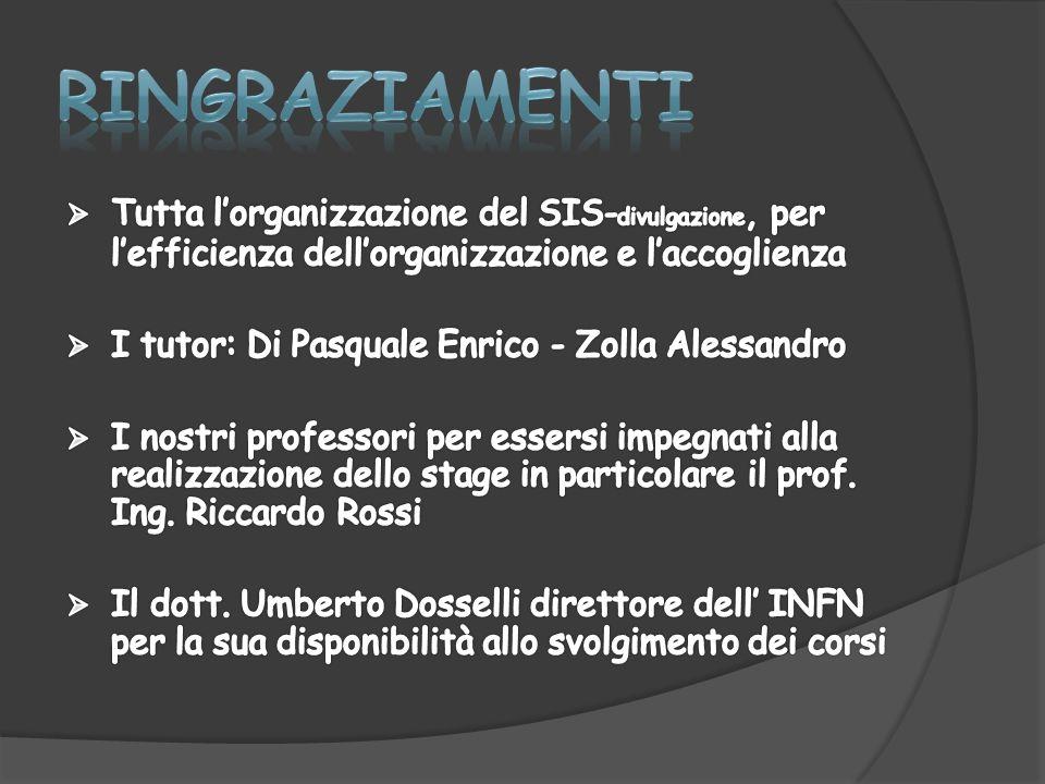 RINGRAZIAMENTI Tutta l'organizzazione del SIS-divulgazione, per l'efficienza dell'organizzazione e l'accoglienza.