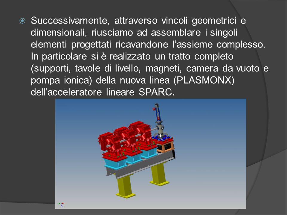 Successivamente, attraverso vincoli geometrici e dimensionali, riusciamo ad assemblare i singoli elementi progettati ricavandone l'assieme complesso.