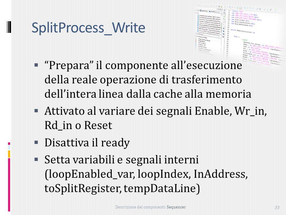 SplitProcess_Write Prepara il componente all'esecuzione della reale operazione di trasferimento dell'intera linea dalla cache alla memoria.