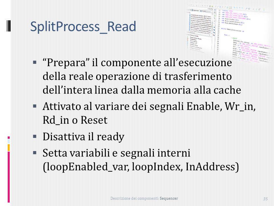 SplitProcess_Read Prepara il componente all'esecuzione della reale operazione di trasferimento dell'intera linea dalla memoria alla cache.