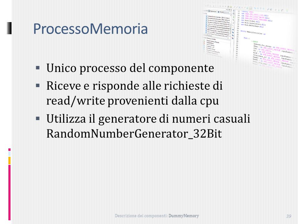 ProcessoMemoria Unico processo del componente
