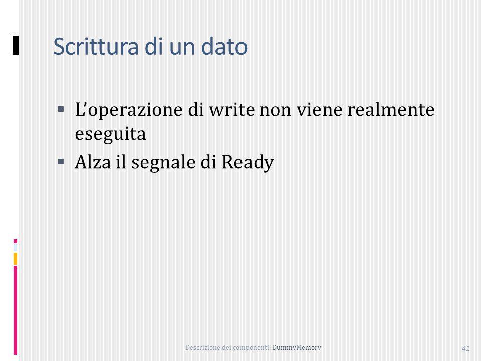 Scrittura di un dato L'operazione di write non viene realmente eseguita Alza il segnale di Ready