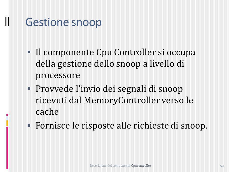 Gestione snoop Il componente Cpu Controller si occupa della gestione dello snoop a livello di processore.