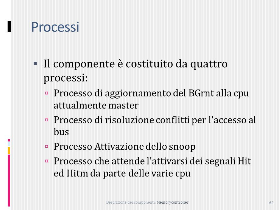 Processi Il componente è costituito da quattro processi: