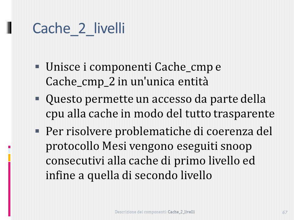 Cache_2_livelli Unisce i componenti Cache_cmp e Cache_cmp_2 in un unica entità.