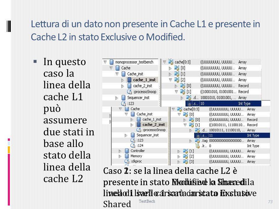 Lettura di un dato non presente in Cache L1 e presente in Cache L2 in stato Exclusive o Modified.