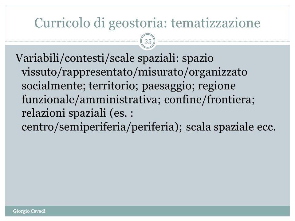 Curricolo di geostoria: tematizzazione