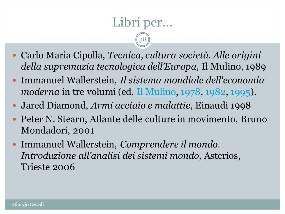 Libri per… Carlo Maria Cipolla, Tecnica, cultura società. Alle origini della supremazia tecnologica dell'Europa, Il Mulino, 1989.