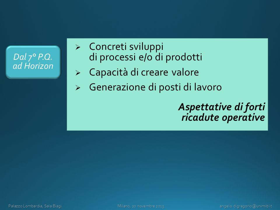 Concreti sviluppi di processi e/o di prodotti